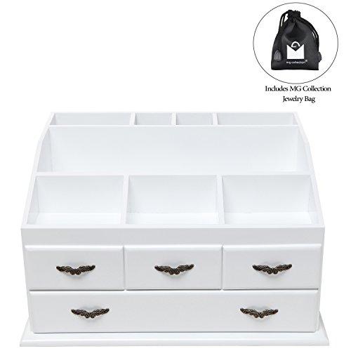 Shabby Chic White Wood 8 Trays 4 Storage Drawers Jewelry / Makeup ...