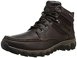 Rockport Men\'s Cold Springs Plus Mocc Toe Boot - High 7 Eyelets Dark Brown Tumbled Leather 10.5 W (EE)
