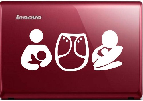 """Breastfeeding Cloth Diapers & Baby Wearing 7"""" Die Cut White Vinyl Decal Sticker For Car Automobile Window Bumper Truck Laptop Ipad Notebook Computer Skateboard Motorcycle"""