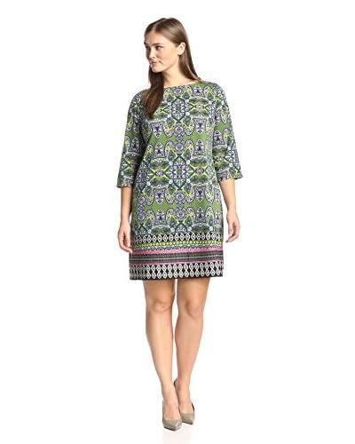 London Times Plus Women's Elbow Sleeve Printed Sheath Dress