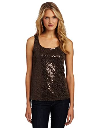 Anne Klein Women's Sequin Tank Top, Brown, Small