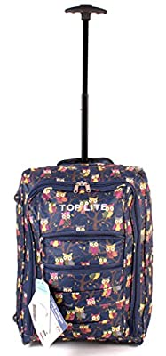 CABIN-WB-OP-01 NAVY Owl Print Two Wheeled Light Cabin Suitcase Hand Luggage Flight Travel Bag