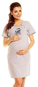 Zeta Ville - De Las Mujeres Maternidad Enfermería Raya Camisón Bebé Cochecito Vestido - 386c (Gris, 10)