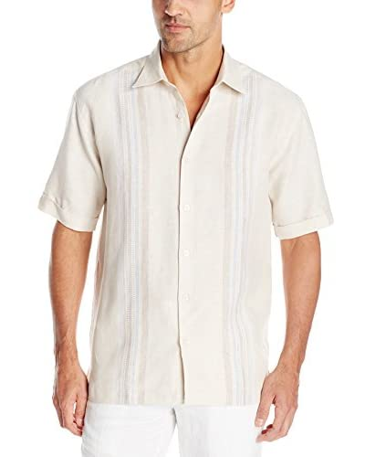 Cubavera Men's Short Sleeve Yarn Dyed Panel Shirt