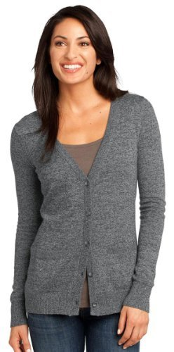 District Made Women'S Modern Two-Toned Cardigan Sweater_Warm Grey_Small