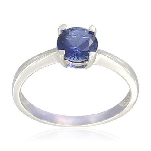 Sterling Silver Round-Shaped Created Blue Sapphire Ring, Size 8