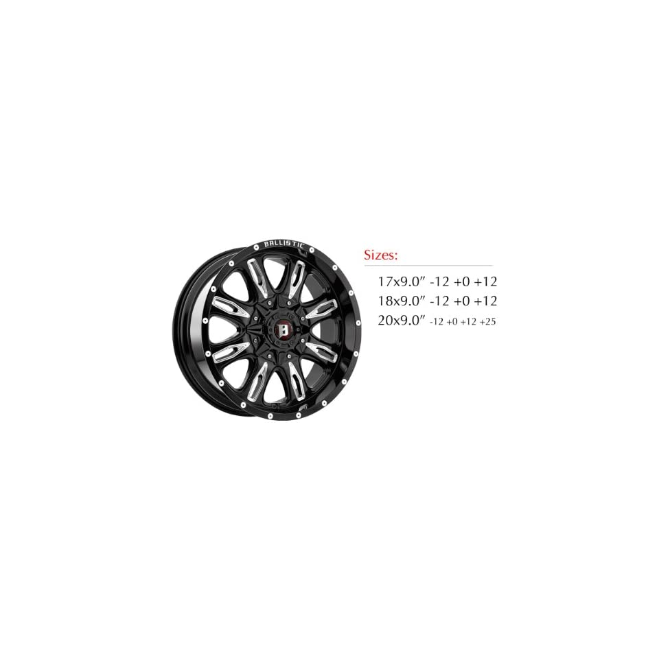 Ballistic 953 Scythe 20x9.0 Gloss Black Wheel with Milled Windows 5x150mm Bolt Pattern /  12mm Offset / 110mm Hub Bore