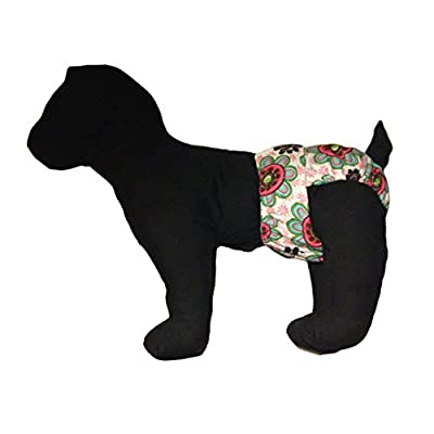 Barkerwear Dog Diaper - Passion Flower Washable Cover-up / Diaper for Incontinence, Housetraining and Dogs in Heat