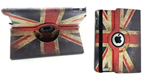 E4EMPORIUM Union Jack British Flag 360 Degree Rotating Leather Case Cover For Apple iPad 2 iPad3 iPad 4 + Stylus + Screen Protector
