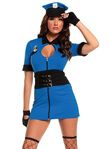 Womens 4 Piece Cop Halloween Costumes with Blue Mini Dress and Accessories