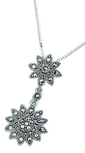 Elements Sterling Silver Ladies' P901 Marcasite Double Daisy Drop Pendant. 46cm Box Chain
