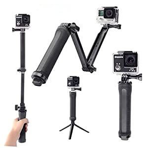 3 Way Monopod Adjustable Selfie Stick for GoPro Hero 4 3 3+ 2 SJCAM 4000 5000 6000 XiaoYi Camera Tripod Mount Accessories HODA Extension Arm Hand Grip Pole