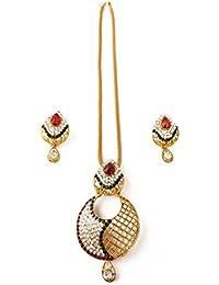 IJevar 24K Gold Plated American Diamond Pendant Set With Earring For Girls / Women