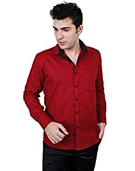 Zeal 100% Cotton Maroon-Black Casual-Formal Shirt