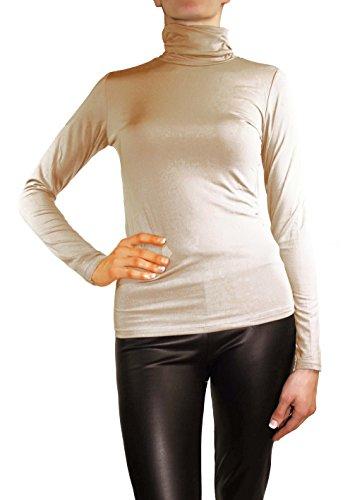 Muse donna a maniche lunghe calda Stretch Pullover roll colletto Thermo maglia Top Haut-farbe 46