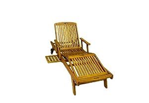 Gartenliege Sonnenliege Liege Akazie Holz Relaxliege mehrfach verstellbar DIVERO