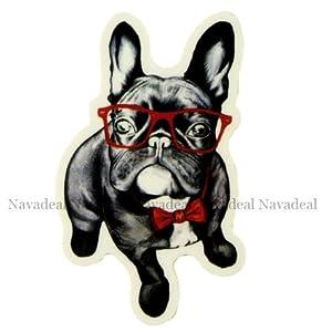 Nava Aufkleber / Sticker, Motiv: Französische Bulldogge mit roter Brille
