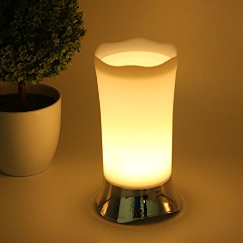 Q&F Motion Sensor LED Bedside Lamp, Battery Powered Modern Night Light