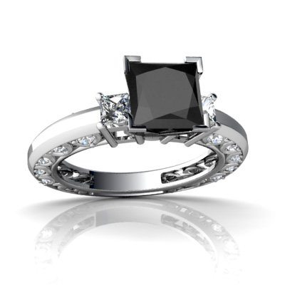 14k white gold square genuine black onyx engagement ring size 7