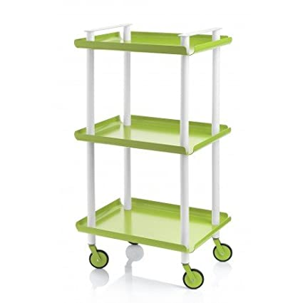 leky Cart, Two Shelves. Tube Double Size White. Pistacho