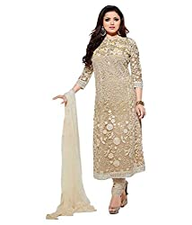 Om Fashion Women's Cotton Unstiched Salwar Suit with Dupatta ( om00012beige_Multi)