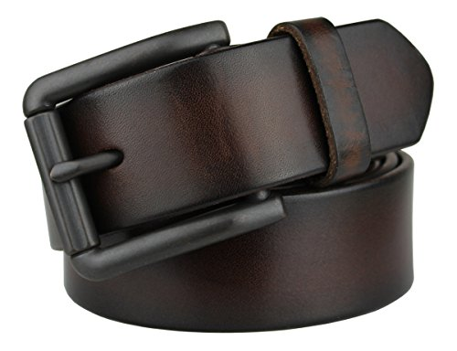 Bullko Men's Retro Pin Buckle 7059 Genuine Leather Belt Coffee 38-40inch (Jean Belts For Men compare prices)