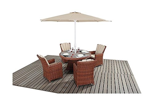 Manhattan braun Rattan Garten Möbel 4-Sitzer-rund Esstisch Stühle, Set online bestellen
