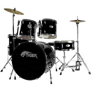 Tiger Full Size Beginner Drum Kit - Black
