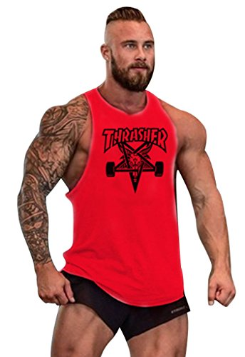 Gillbro T-shirt Mens GYM muscolare allenamento bodybuilding Canotta modello della lettera, C, L