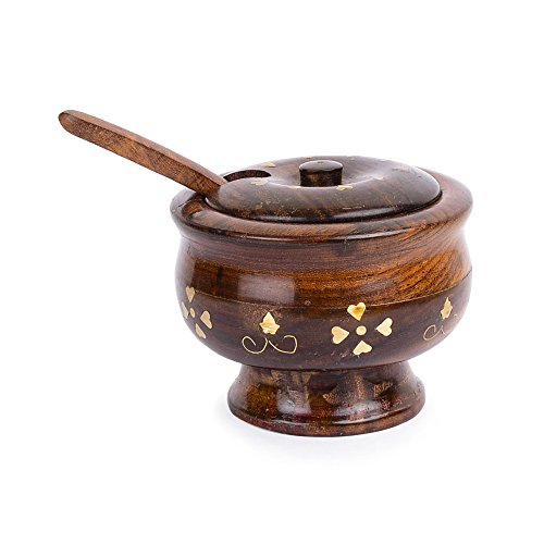 Rusticity Wooden Sugar Bowl with Lid and Spoon - Brass | Handmade | (4.5x3in) (Wooden Bowl With Lid compare prices)