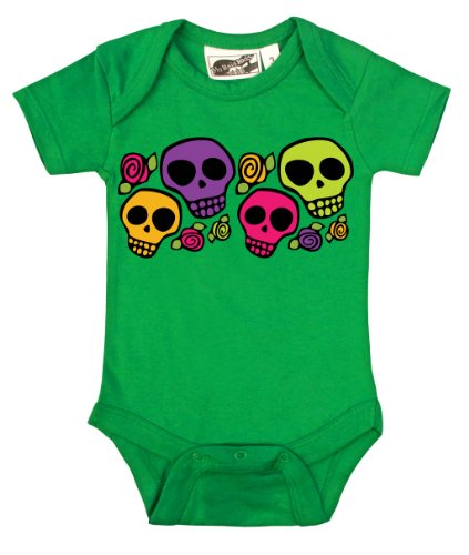 Dia De Los Muertos Green Skull One Piece 3-6 Months front-1032939