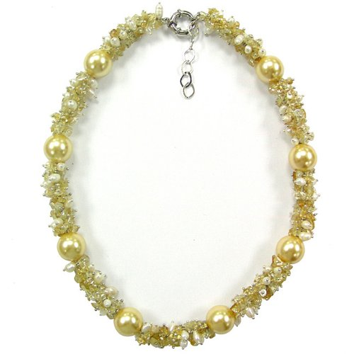Pearlz Ocean Shell Pearl, FW Pearl and Citrine Chip Necklace (10-11 mm)