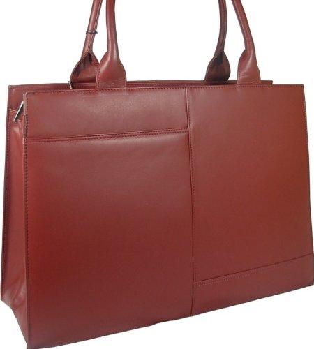 New beautiful ladies large Visconti dark red leather laptop briefcase work bag organiser style 19147