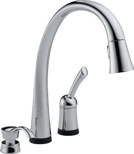 Delta 980T-SD-DST Pilar Single Handle Pull-Down Kitchen Faucet with Touch2O Technology and Soap Dispenser, Chrome (Delta Single Lever Kitchen Faucet compare prices)