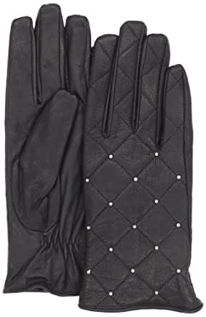 Nine West Women's Quilted Leather Glove, Black, Small
