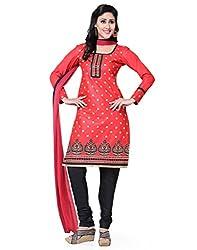 Saree Swarg Red and Black Dress Material