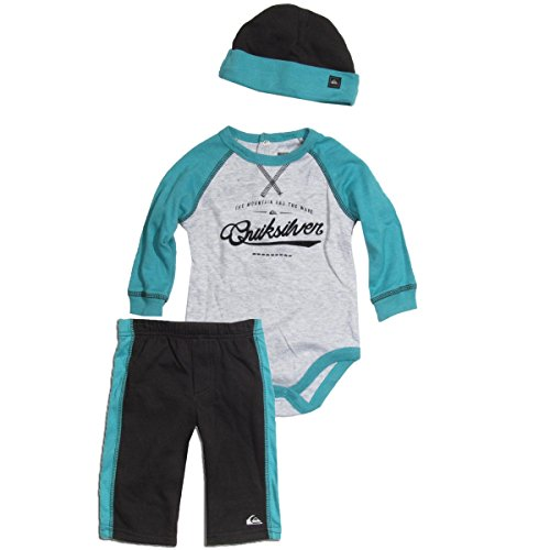Quiksilver Babys Newborn Gray Blue Bodysuit With Pull On Pant And Hat, Gray, 3-6 Months front-972352