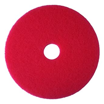 3M Red Buffer Pad 5100, Floor Buffer, Machine Use (Case of 5)