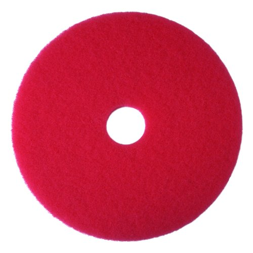 """3M Red Buffer Pad 5100, 12"""" Floor Buffer, Machine Use (Case Of 5) front-373100"""