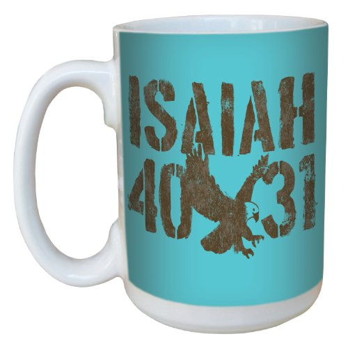 Tree-Free Greetings Lm44265 Stencil Style: Isaiah 40:31 Ceramic Mug With Full-Sized Handle, 15-Ounce