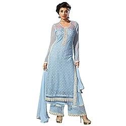 Bhelpuri Women Sky Blue Net Georgette Dress Material