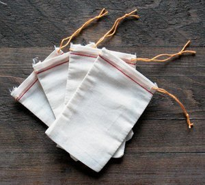 Cotton Muslin Bags 3x5 Inch (7.7x12.75 Cm) Red Hem and Orange Drawstring 25 Count Pack