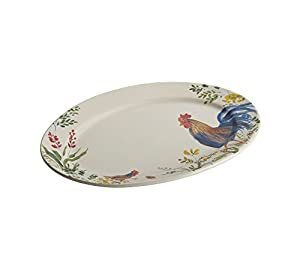 Paula Deen Garden Rooster Stoneware Oval Serving Platter