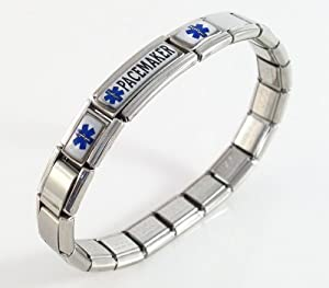 Pacemaker Medical ID Alert Italian Charm Bracelet