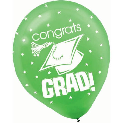 Congrats Grad Green with Stars Graduation Latex Balloons