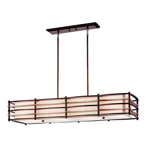 B004RVLHUU Kichler Lighting 42099CMZ 4 Light Moxie Linear Chandelier Island, Cambridge Bronze
