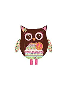 Hippie Chick Owl Mylar Balloon