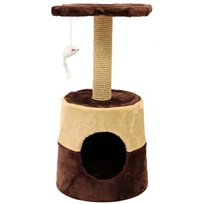 Mool Deluxe Cat Scratching Tree/ Post Activity Centre with Hidey-Hole and Viewing Platform/ Mouse Toy, 60 cm, Brown/ Cream