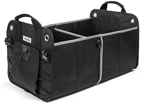Black Heavy Duty Car Trunk Organizer By HomePro Goods, Sturdy Cargo and SUV Storage for Tools, Gear and Groceries (Car Organizer Jeep compare prices)