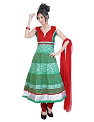 Divinee Green Cotton Readymade Anarkali Suit - B0136DL97U